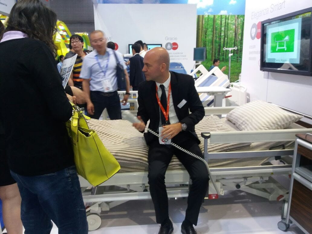 CMEF - Linet booth - Christian Wurm presenting LINET bed