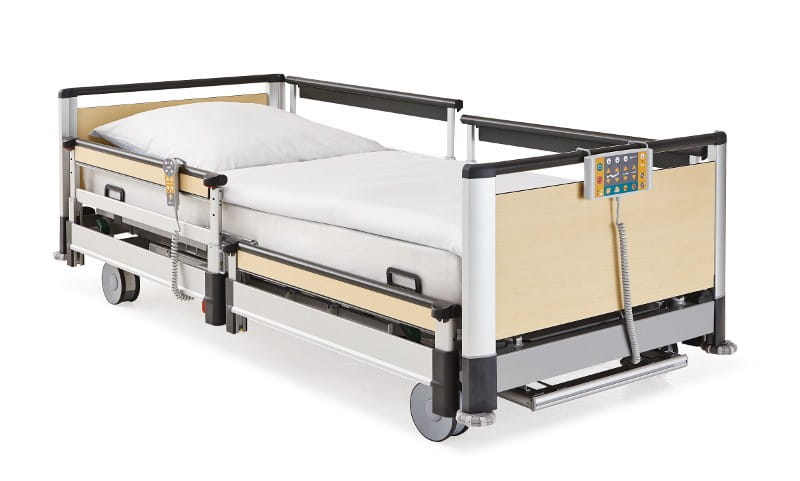 Different height settings allow the adaption of side rails to the  individual patient s needs for protection and the design without middle  posts or central. Image 3   LINET  Beds  mattresses